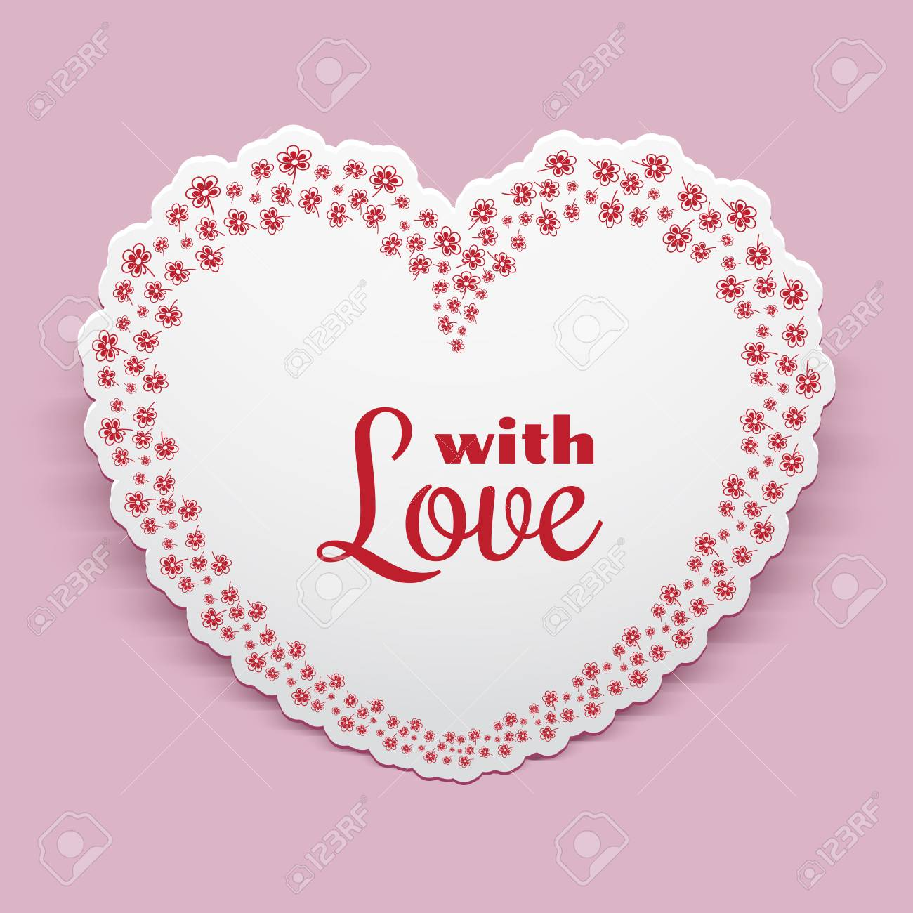 Paper heart with floral border ornament, Valentine Day greeting card or invitation template - 56298823