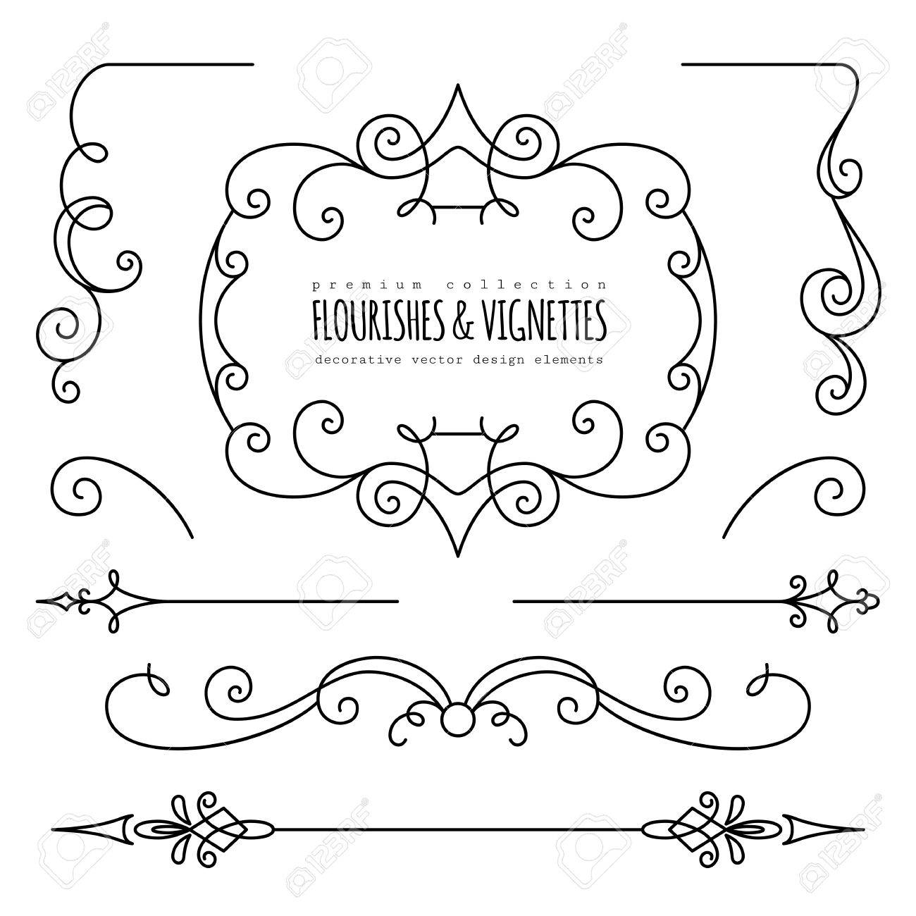 Vintage Flourishes, Dividers And Vignettes, Page Decoration Template ...
