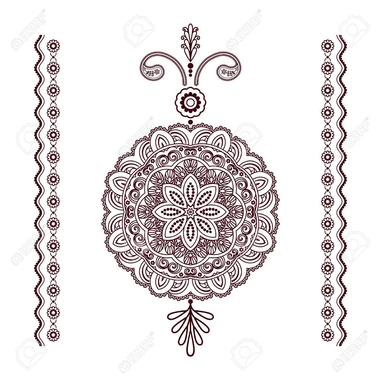 Henna Mandala Pendant With Round Tattoo Ornament And Decorative