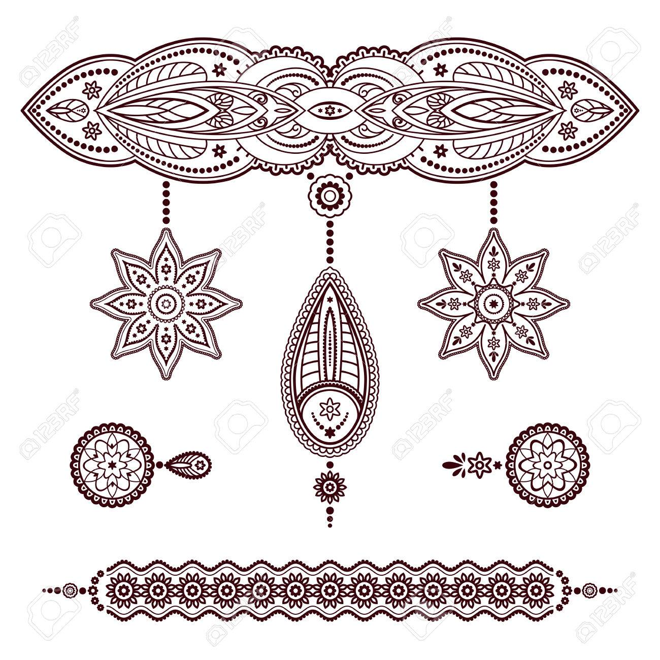 Set Of Henna Tattoo Templates, Decorative Doodle Elements, Pendant ...