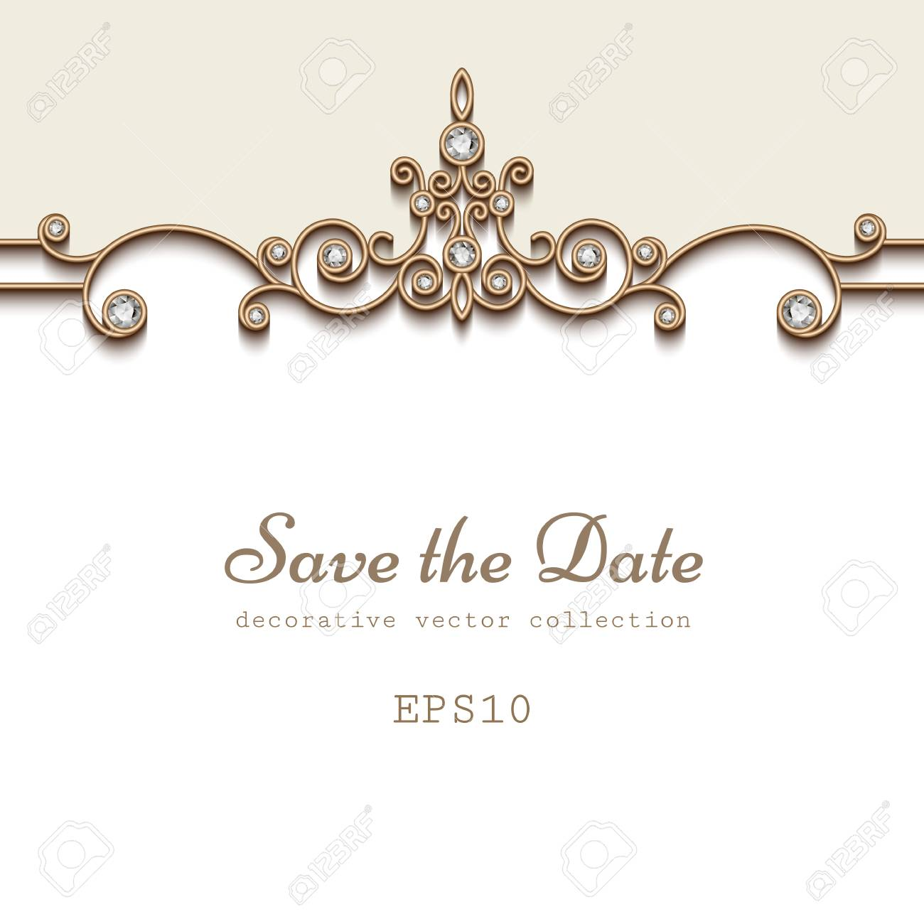 elegant save the date card with jewelry diamond decoration vintage