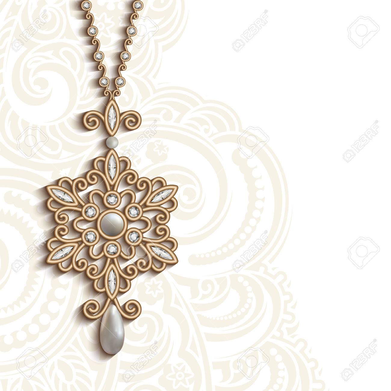 vintage gold jewelry pendant with diamonds and pearls round