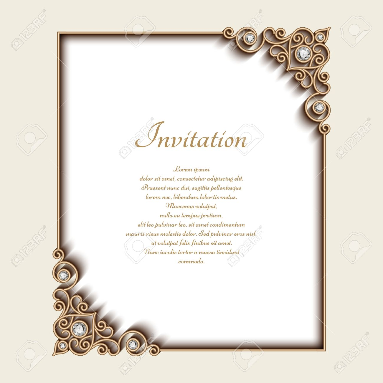 Vintage gold background rectangle jewelry frame with ornamental vector vintage gold background rectangle jewelry frame with ornamental corners greeting card or invitation template stopboris Choice Image