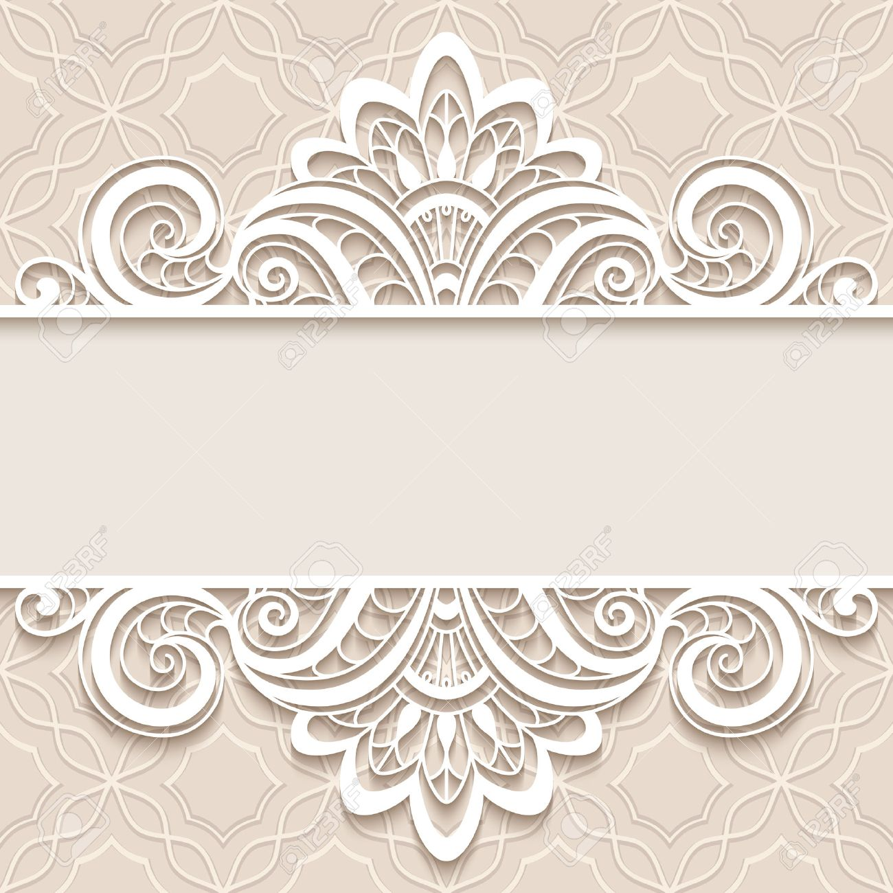Elegant Background With Border Lace Ornament, Divider, Header, Decorative  Paper Lace Frame,