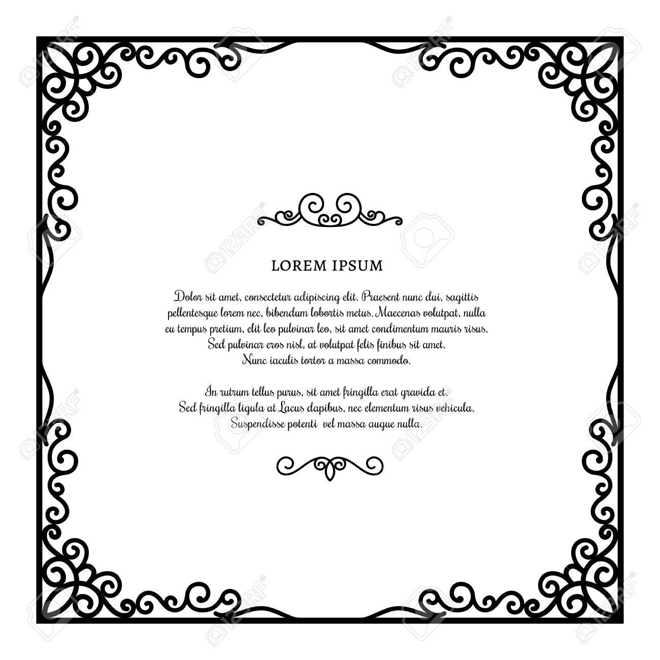 Vintage square frame with ornamental corners scroll embellishment vector vintage square frame with ornamental corners scroll embellishment on white certificate or invitation card template stopboris