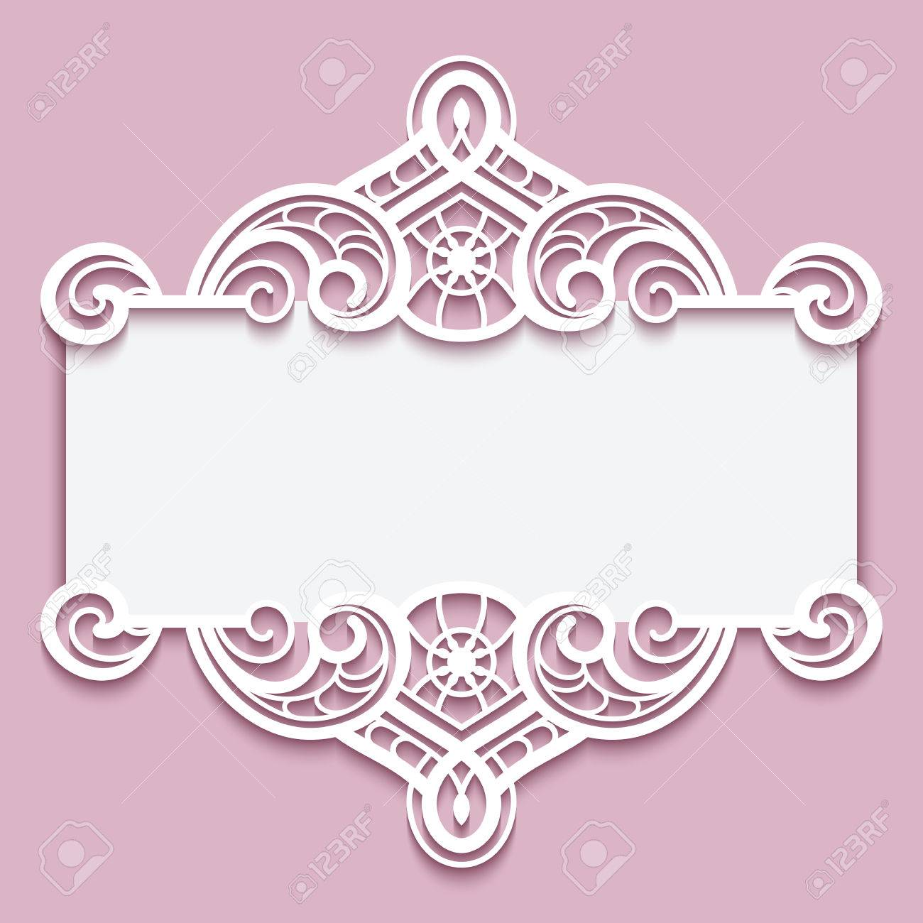 elegant cutout paper frame with lace border ornament greeting