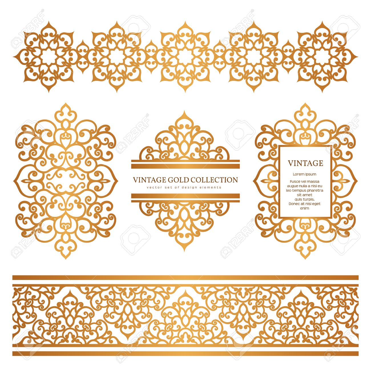 Vintage gold borders and frames set of decorative design elements vector vintage gold borders and frames set of decorative design elements golden embellishment on white stopboris Images