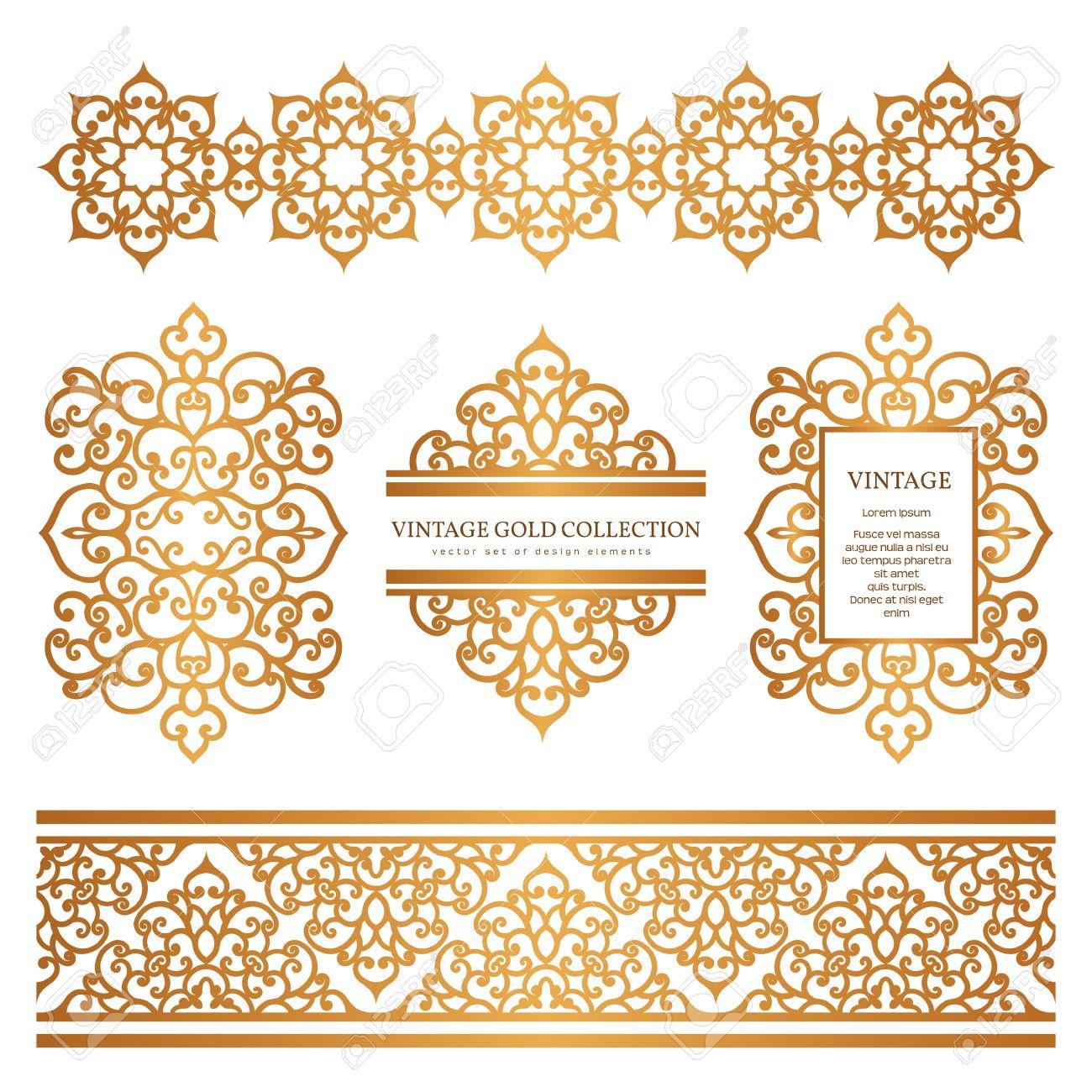 Vintage Gold Ränder Und Rahmen, Reihe Von Dekorativen Design ...