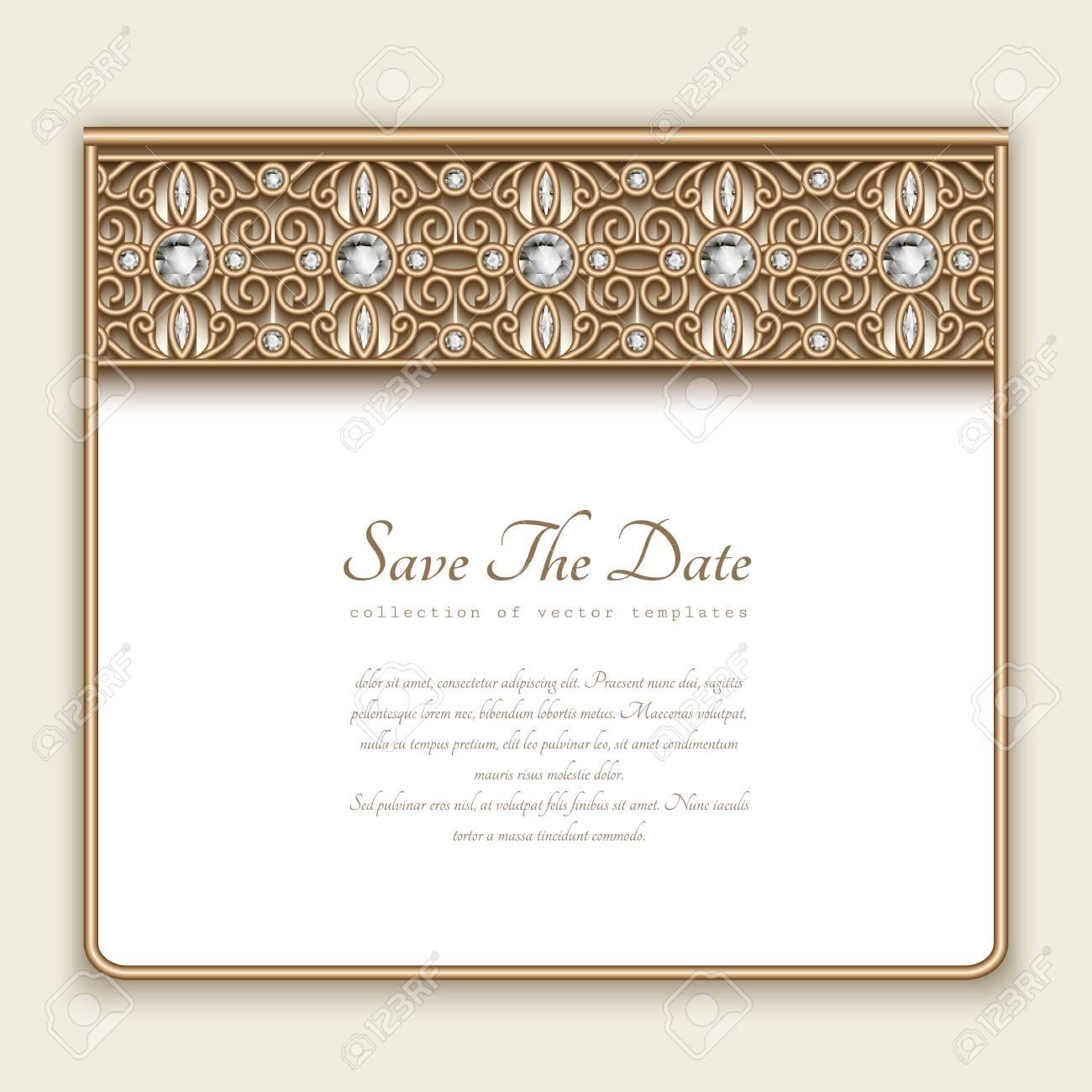 Vintage Gold Card With Diamond Jewelry Border Decoration, Wedding ...