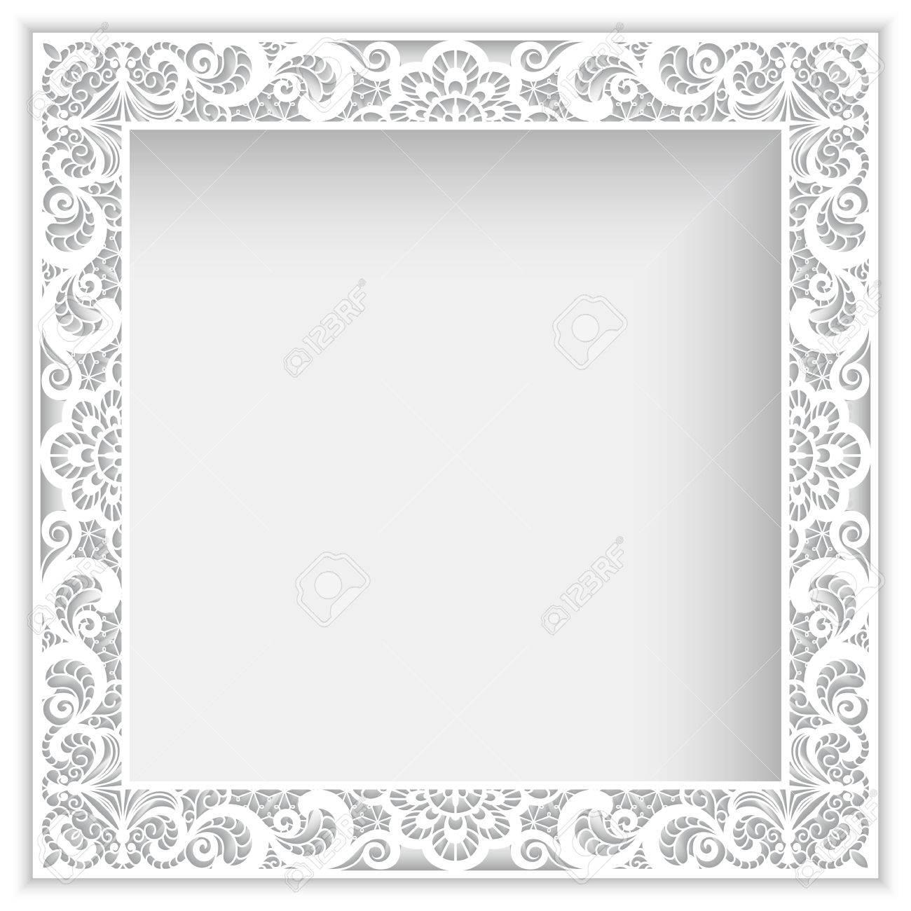 Quadratische Weiße Rahmen Mit Ausschnitt Papier Spitzen Grenze ...