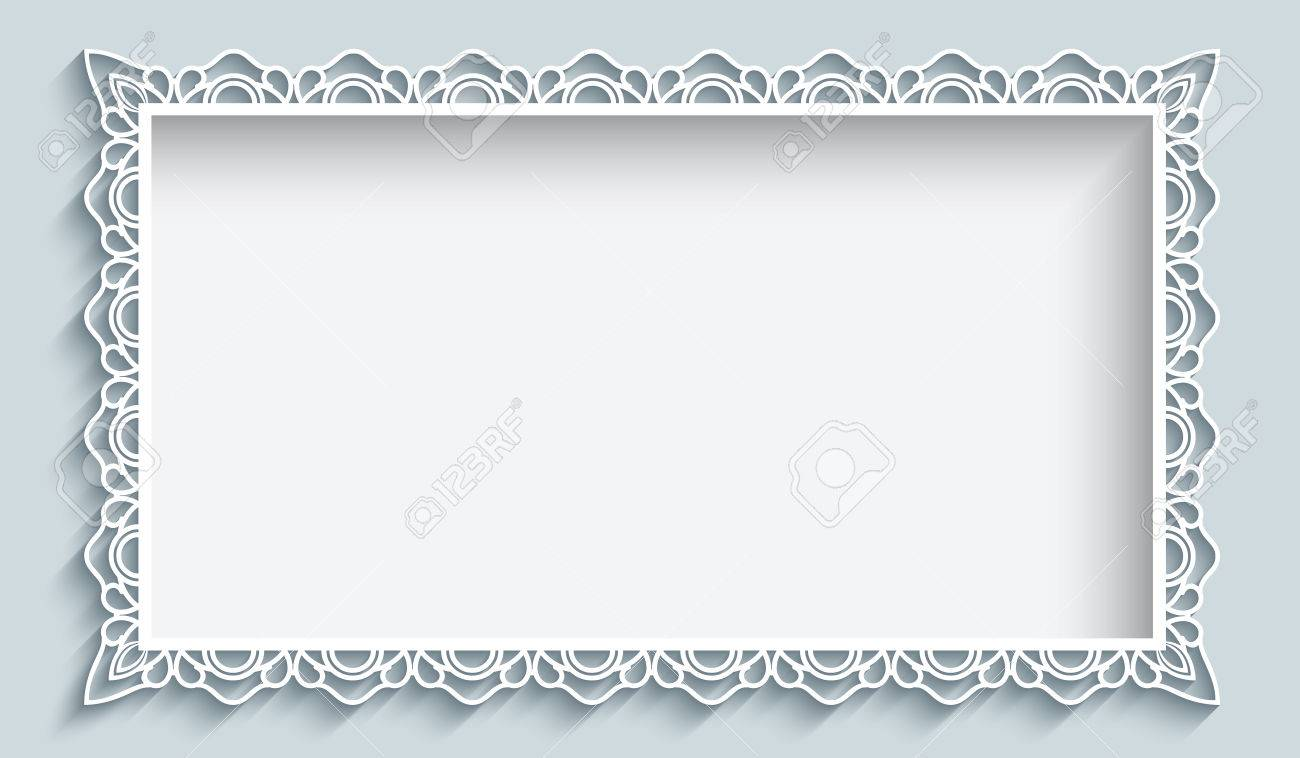 Rectangle frame with paper lace border ornament, greeting card or wedding invitation template - 64971834