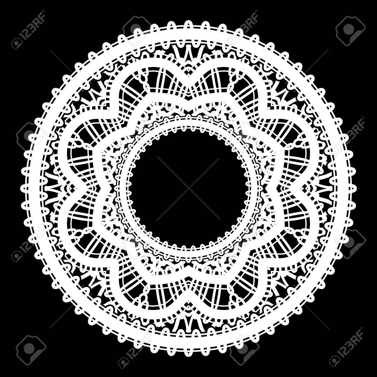 Runde Weiße Rahmen Mit Spitzen Grenze Ornament, Spitzen-Etikett ...