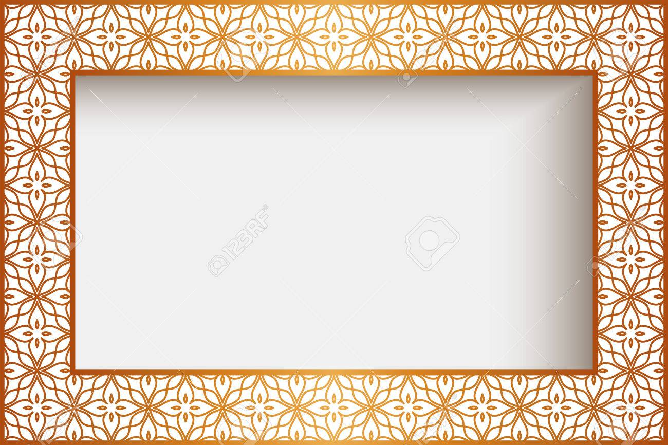 Rectangle Frame With Gold Border Decoration, Greeting Card Or ...