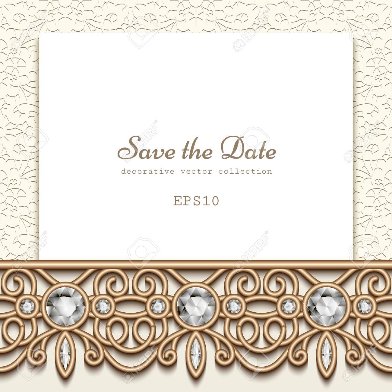 Elegant Save The Date Card With Diamond Jewelry Border Decoration ...