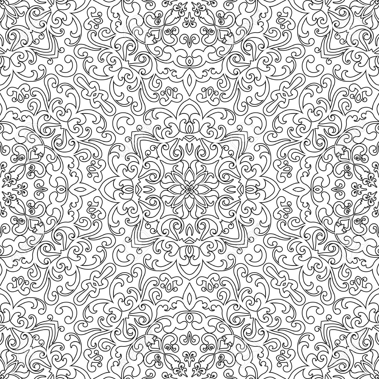 Seamless Pattern For Coloring Book Black And White Background