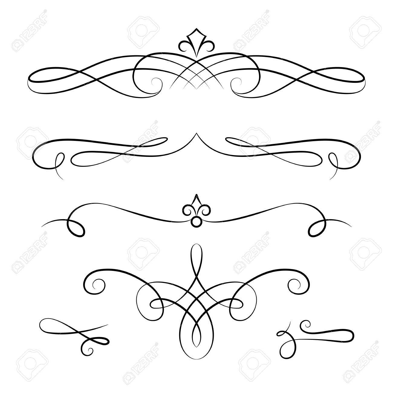 vintage vignettes page decoration template set of calligraphic