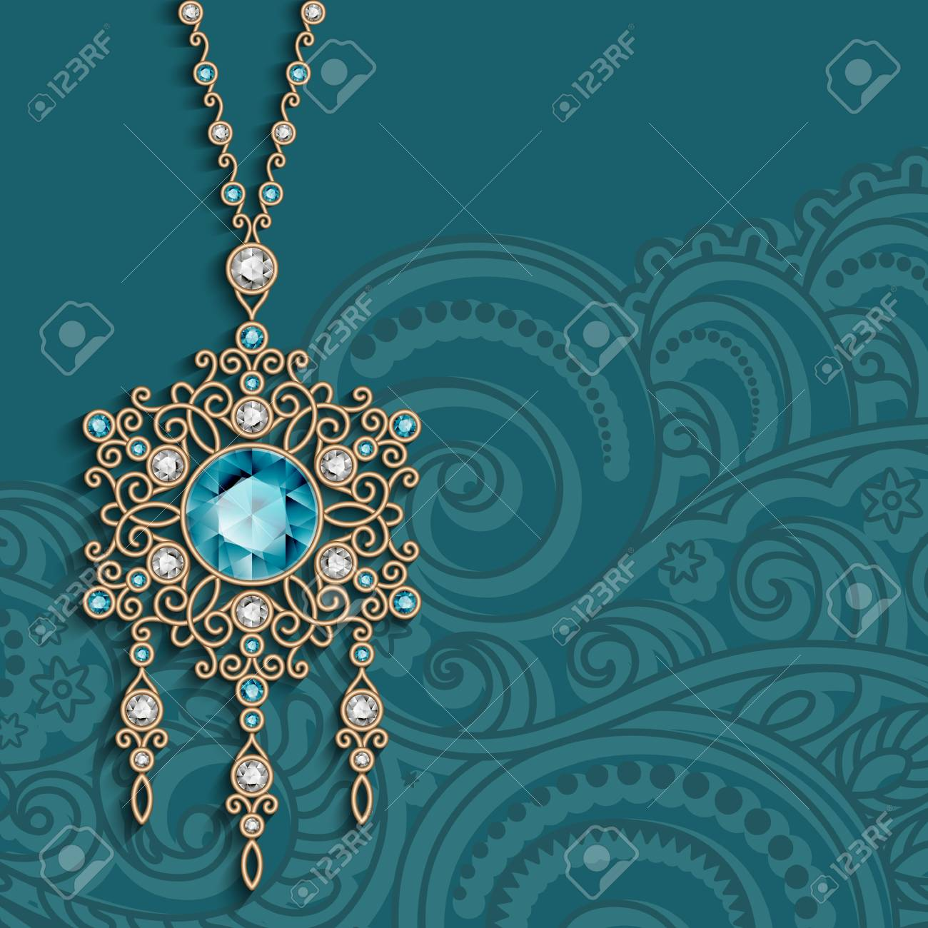 Vintage Gold Jewelry Pendant With Diamonds And Emerald Gemstones Antique Jewellery Womenâ S Decoration Elegant Greeting Card Or Invitation Template
