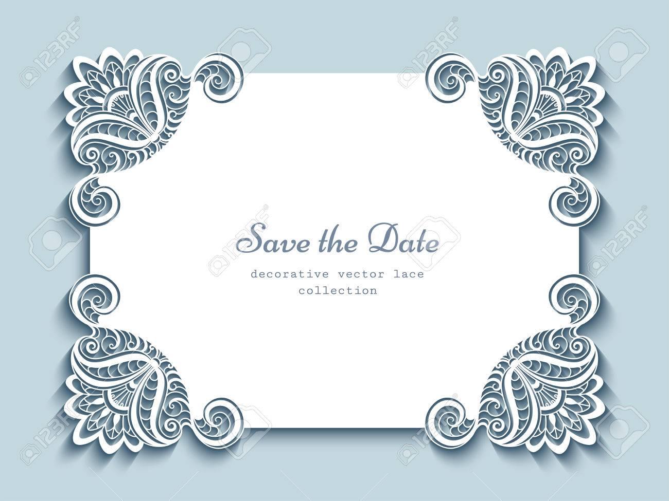 Cutout paper frame elegant greeting card or wedding invitation cutout paper frame elegant greeting card or wedding invitation template with lace corners stock vector stopboris Images