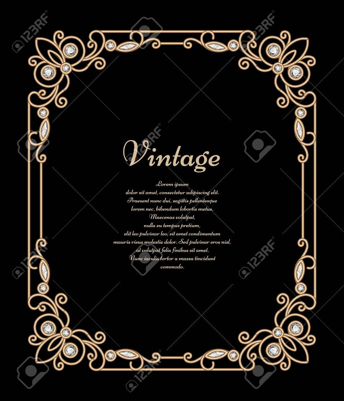 Vintage jewelry gold background banner rectangle frame with vector vintage jewelry gold background banner rectangle frame with corner patterns antique embellishment on black stopboris Choice Image
