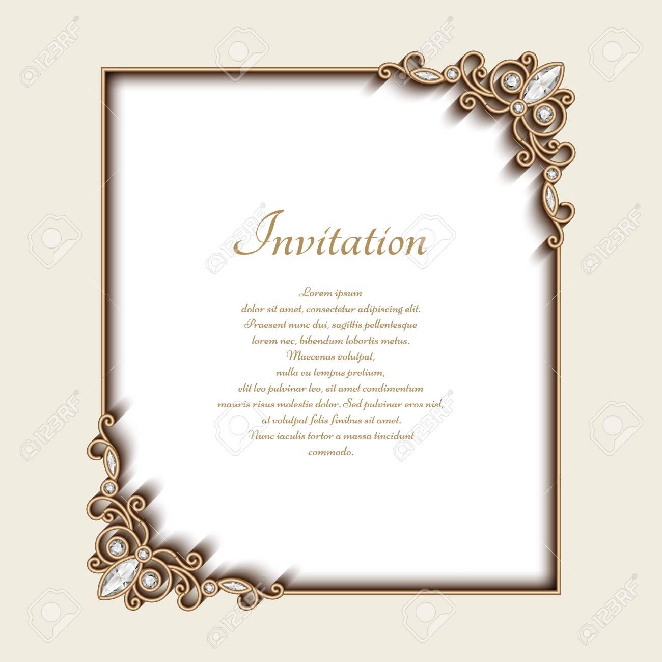 Vintage photo frame with gold jewelry border and corner decoration vector vintage photo frame with gold jewelry border and corner decoration greeting card or invitation design stopboris Choice Image
