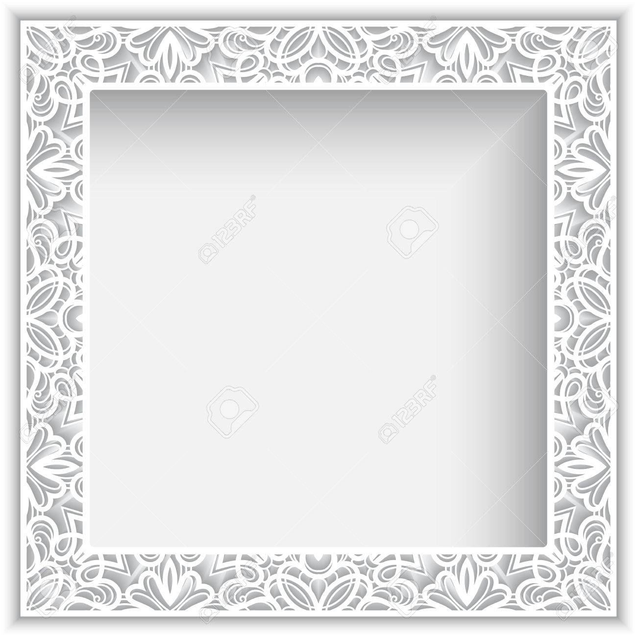 Square White Frame With Cutout Paper Lace Border Ornament Royalty ...