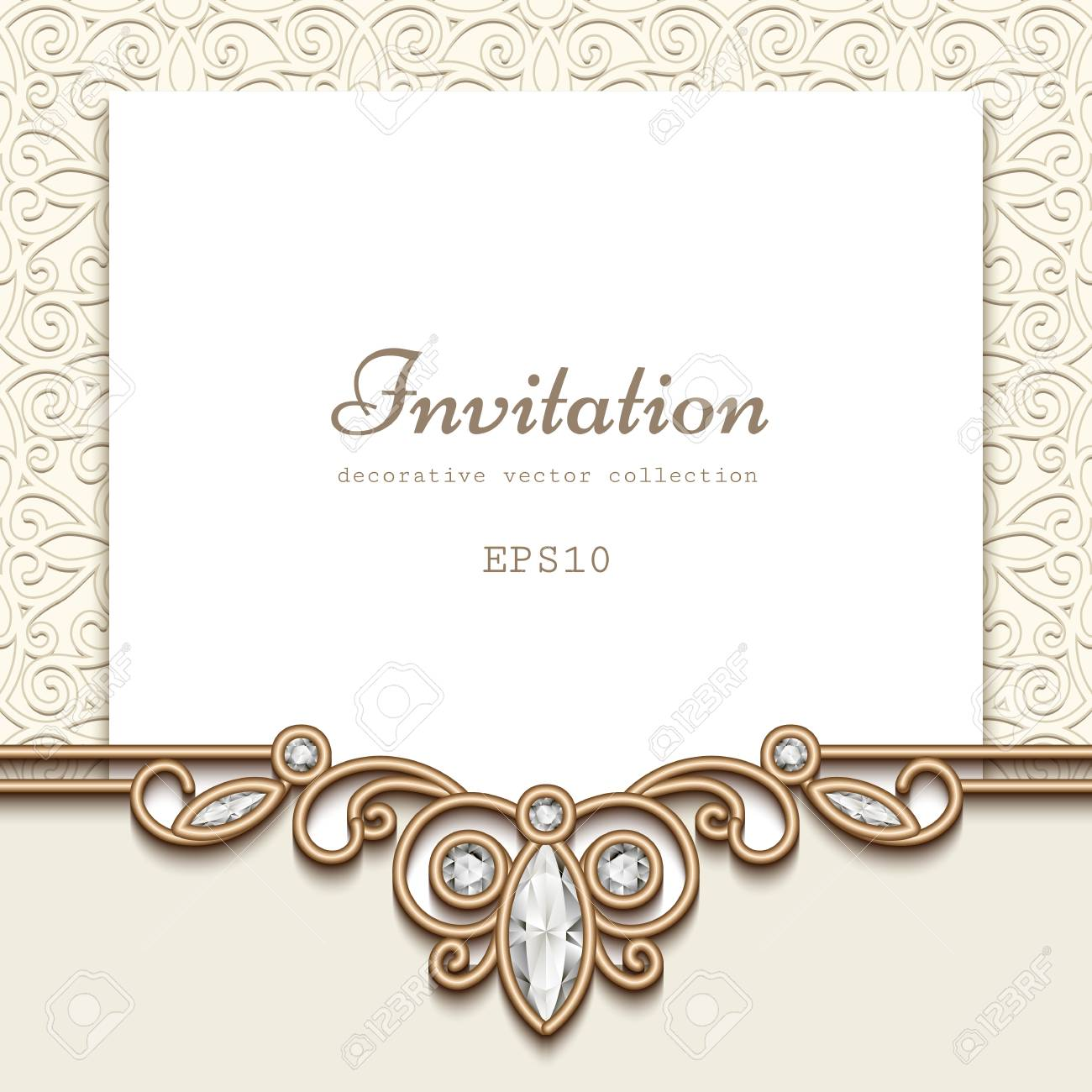 Elegant wedding invitation with jewelry diamond decoration vintage elegant wedding invitation with jewelry diamond decoration vintage save the date or greeting card template junglespirit Images