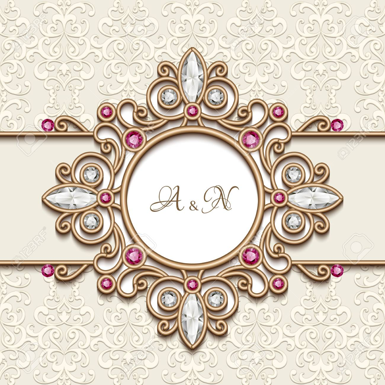Vintage Gold Jewelry Background Antique Jewellery Frame With