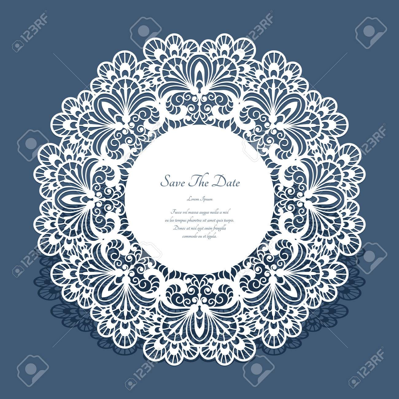 Round Cutout Paper Frame, Laser Cut Lace Doily, Save The Date ...