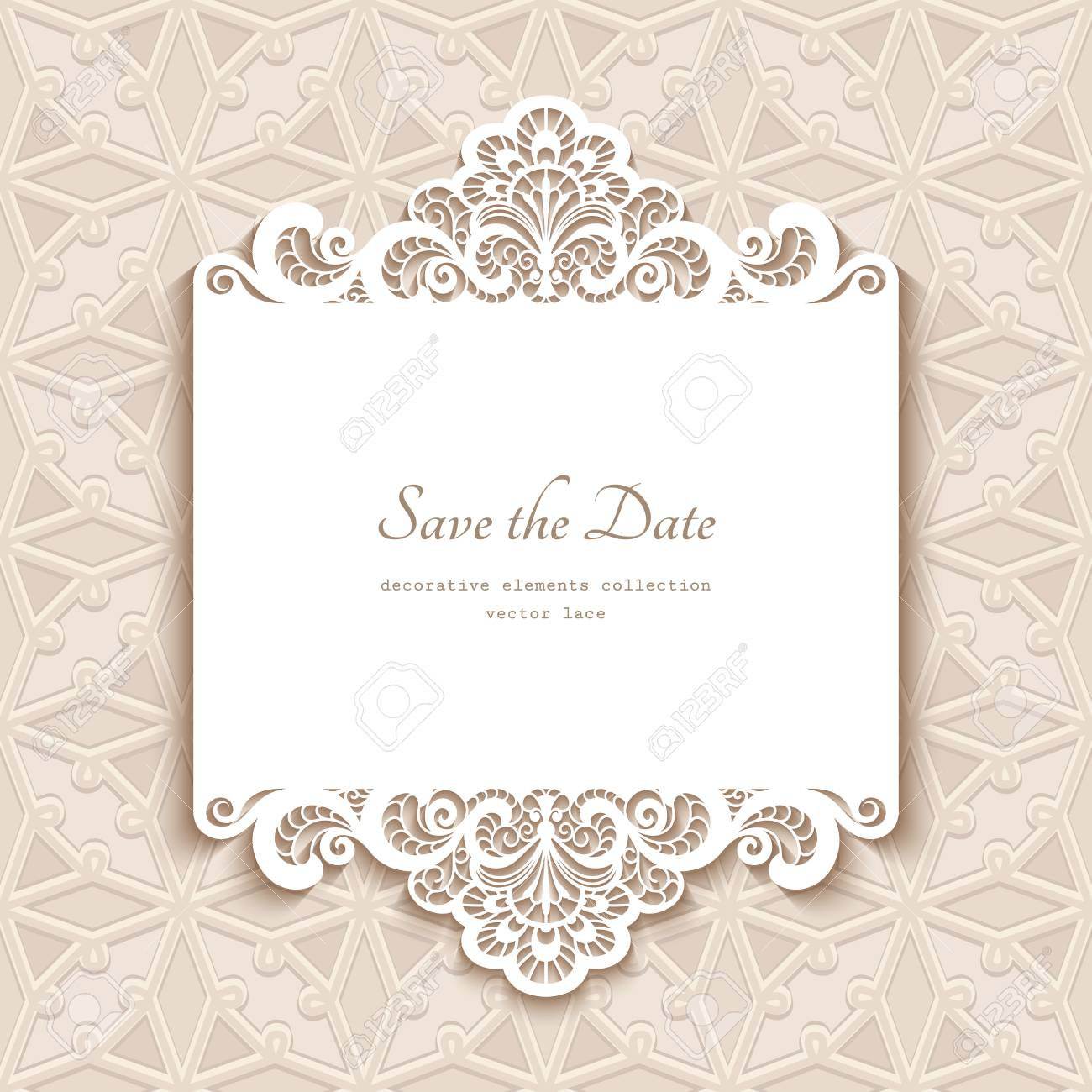 Cutout Paper Lace Frame Greeting Card Save The Date Or Wedding