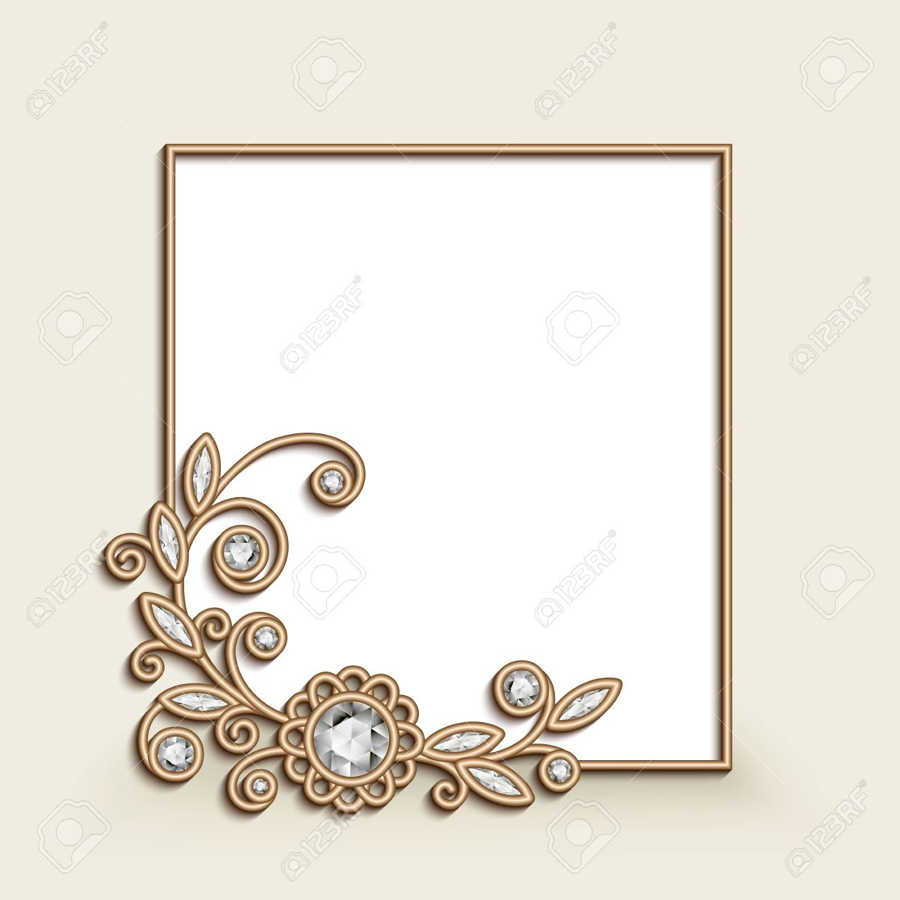Vintage Photo Frame With Gold Corner Decoration Floral Jewellery