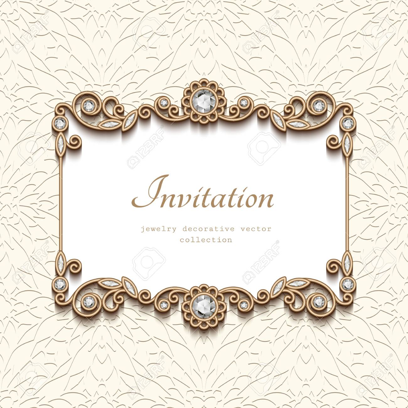 Vintage card with diamond jewellery decoration elegant gold vintage card with diamond jewellery decoration elegant gold frame wedding invitation or announcement template junglespirit Choice Image