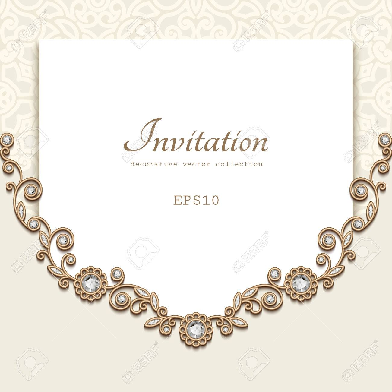 Elegant Background With Diamond Decoration Jewellery Gold Frame