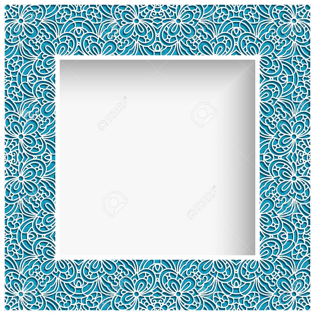 Square Photo Frame With Lace Border Pattern, Swirly Ornament ...