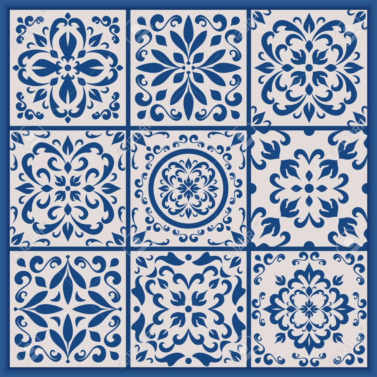Blue and white ornate Portuguese tiles. Vector azulejo patterns. Simple mandala ornaments. Set of ornamental ceramic tiles in Lisbon style. Decorative maiolica design. - 86617890