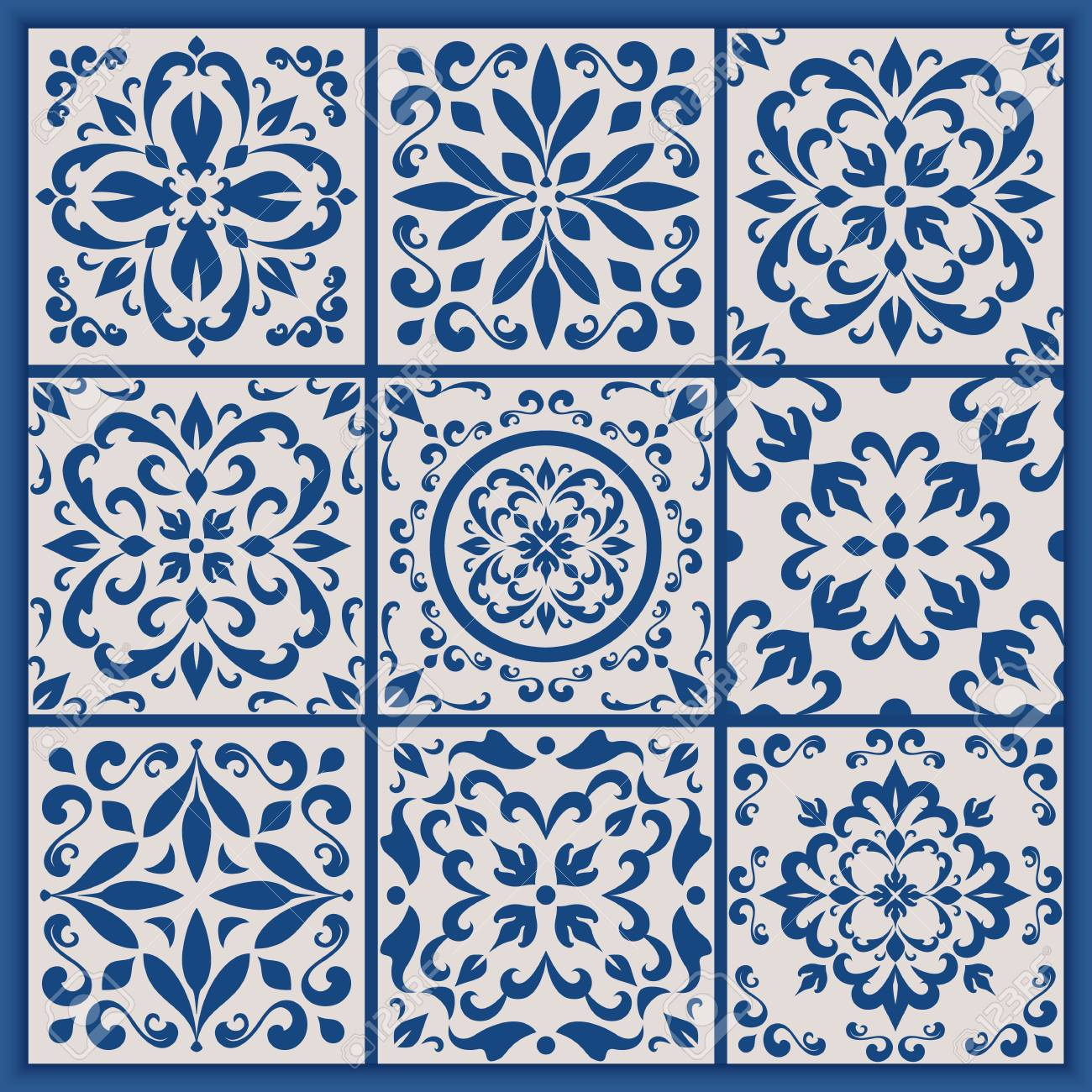 Blaue Und Weiße Verzierte Portugiesische Fliesen Vektor Azulejo - Portugiesische fliesen bilder