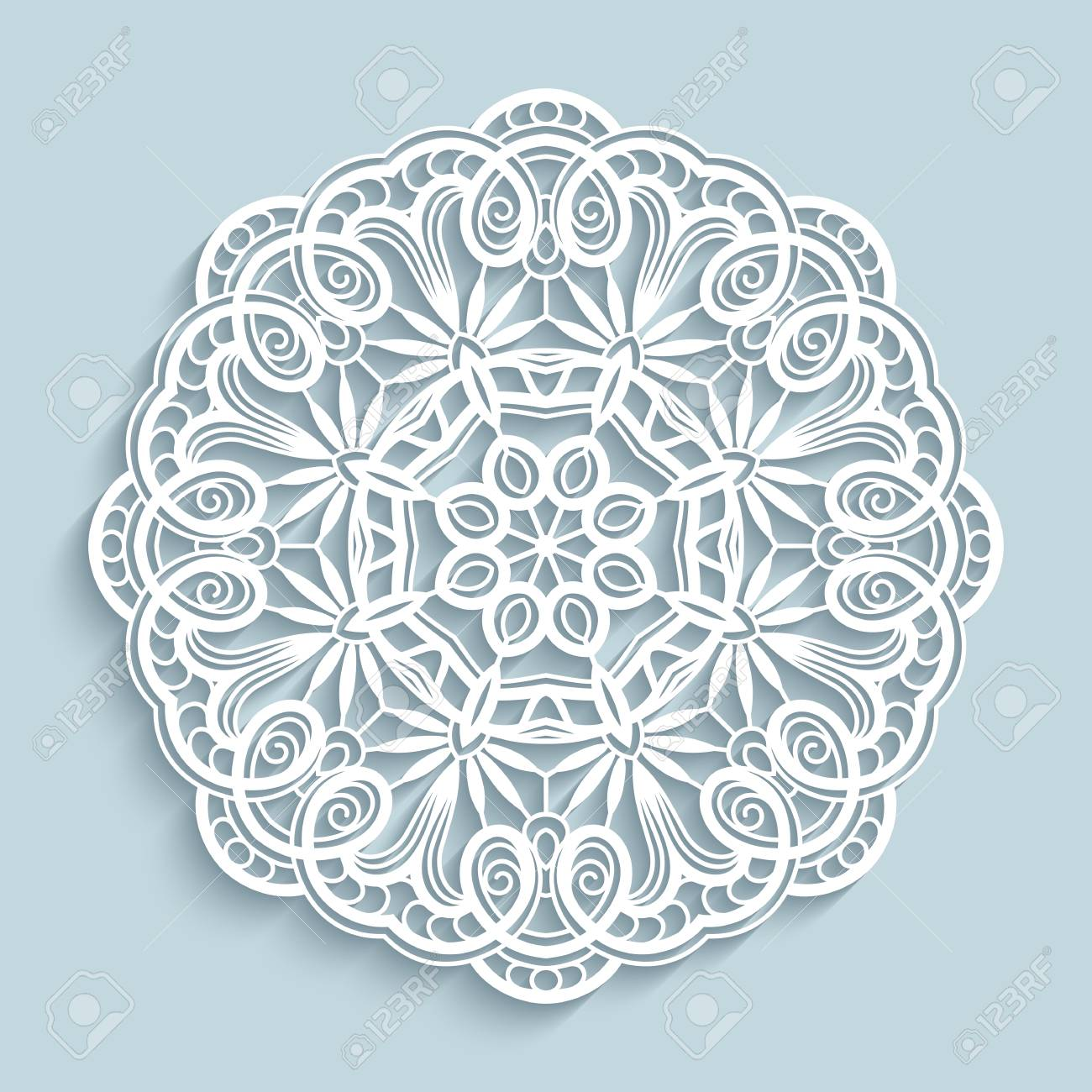 Round Cutout Paper Ornament Lace Doily Decorative Snowflake