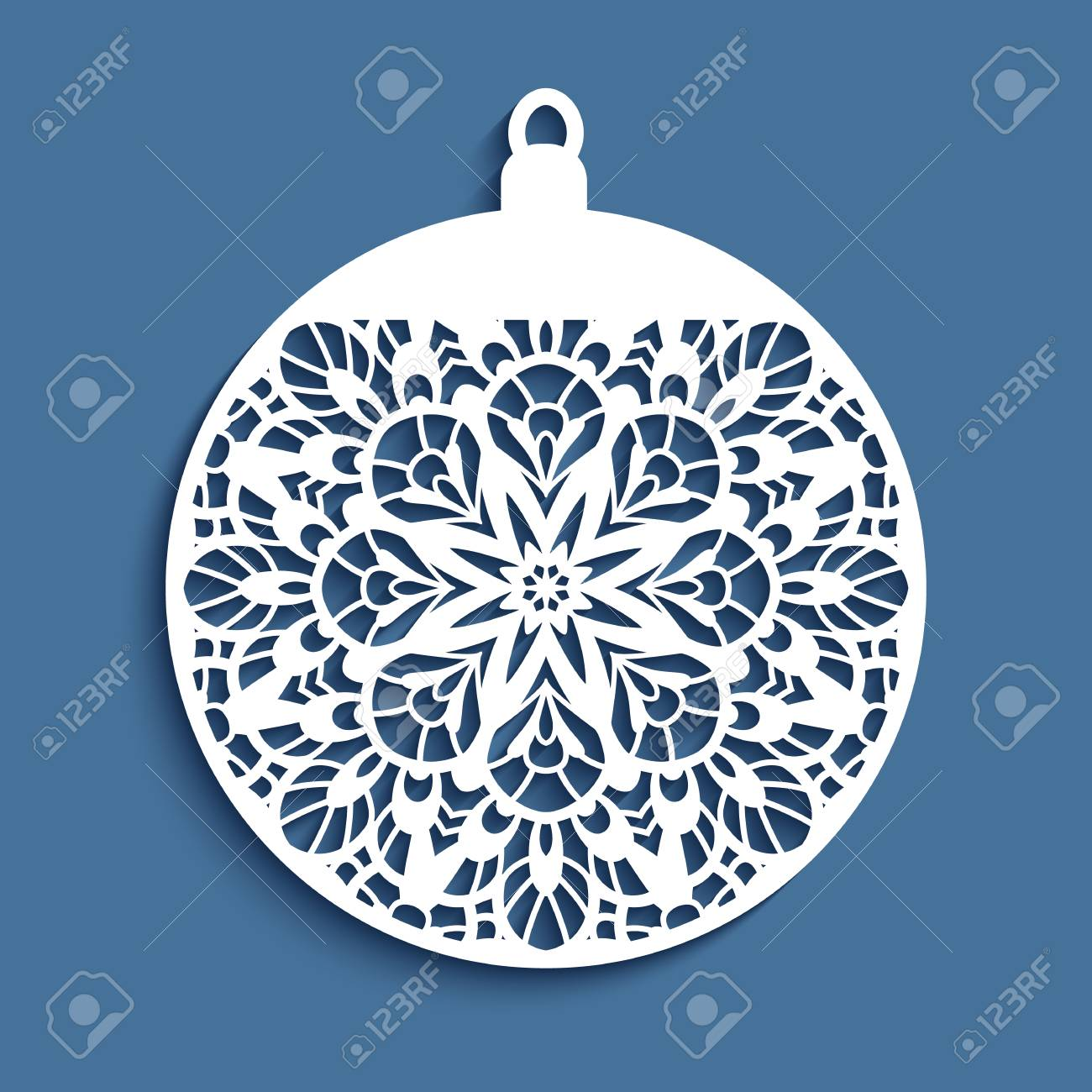 Christmas Cutout Patterns.Ornamental Christmas Ball Cutout Paper Decoration Vector Template