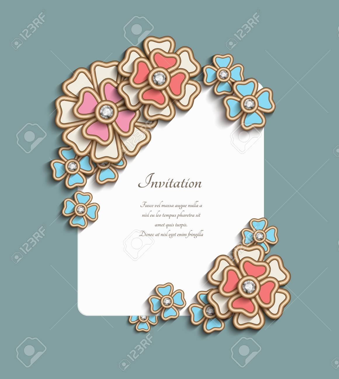 Vintage Card With Floral Corner Decoration Vector Elegant Jewelry