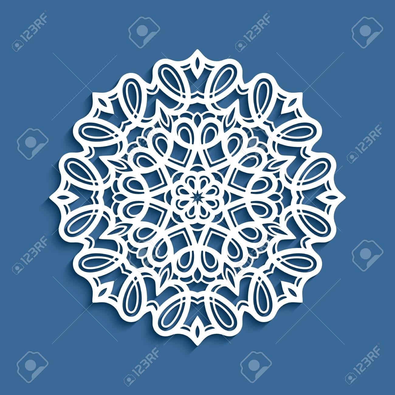 ラウンド レース ドイリーベクター装飾的な雪の結晶切り絵型紙