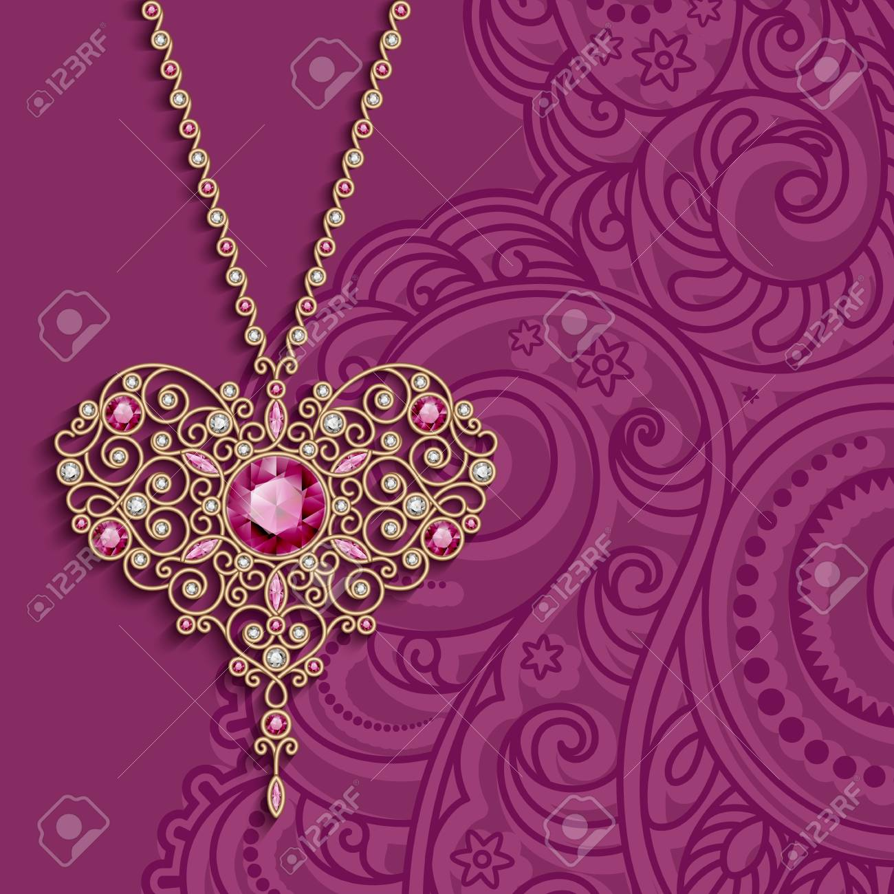 Vintage Gold Jewelry Pendant In Shape Of Heart Decorated With Diamonds And Ruby Gems Womenâ S Decoration On Purple Background Vector Greeting Card