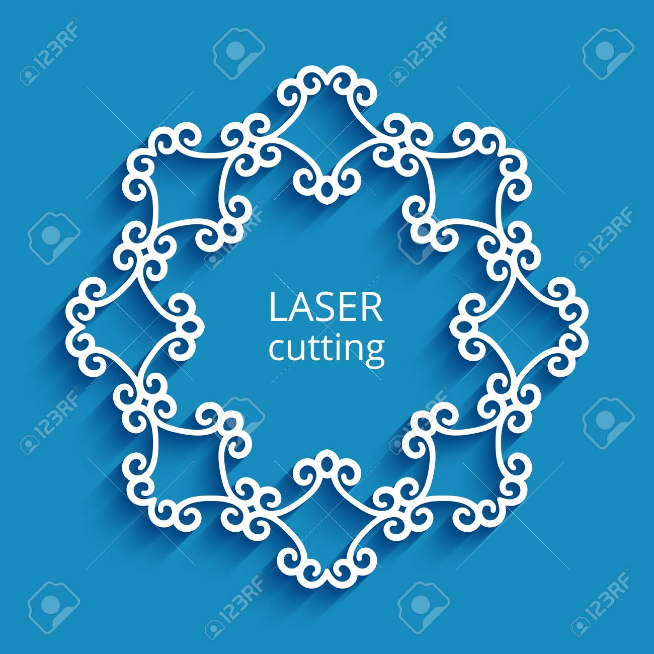 Round vector frame with swirly border ornament, cutout paper circle pattern, decorative template for laser cutting - 104465581
