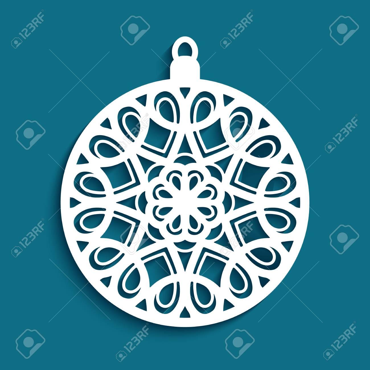 Christmas Cutout Patterns.Ornamental Christmas Ball Cutout Paper Pattern Round Lace Decoration