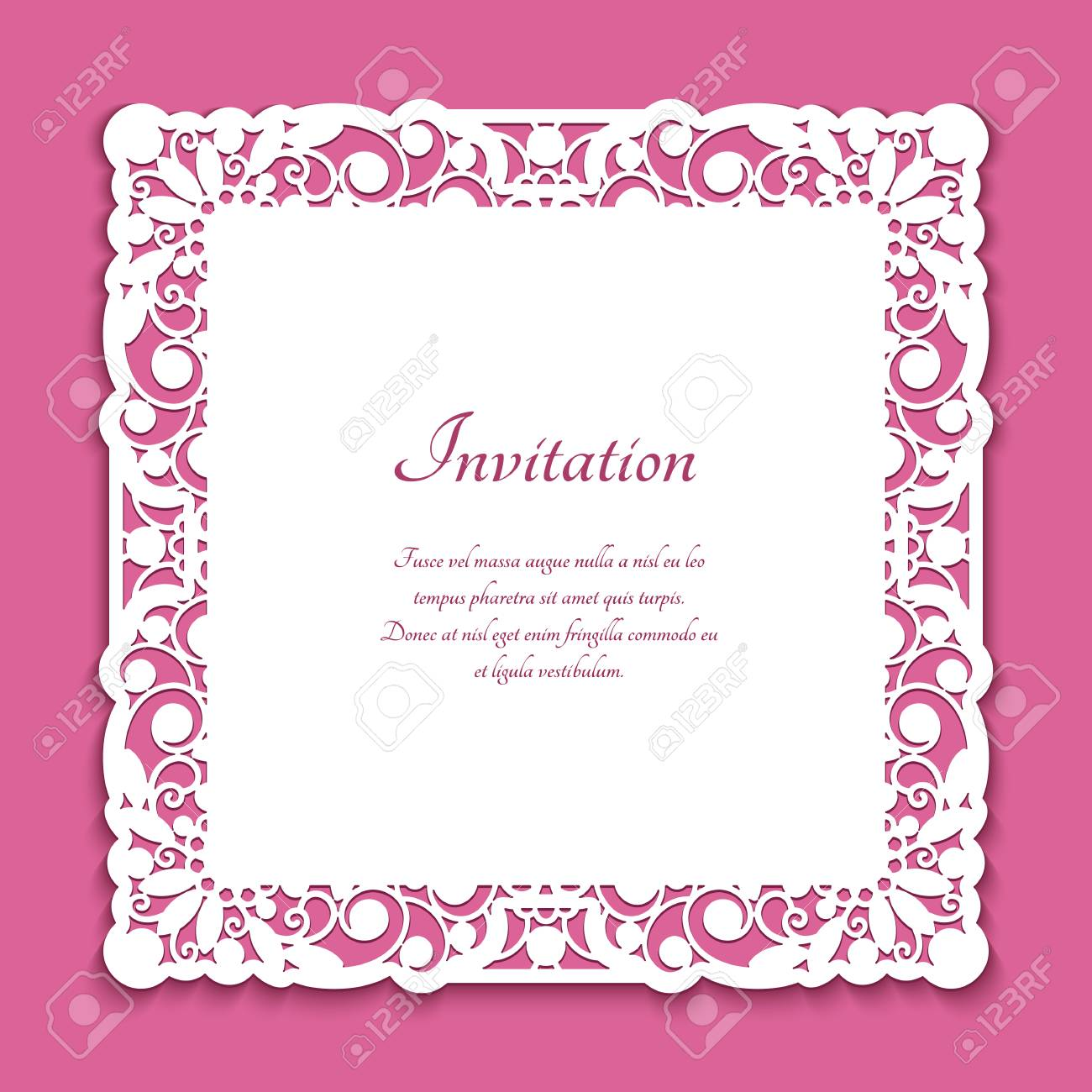 Ornamental square frame with lace border pattern, cutout wedding invitation design, template for laser cutting - 126067670