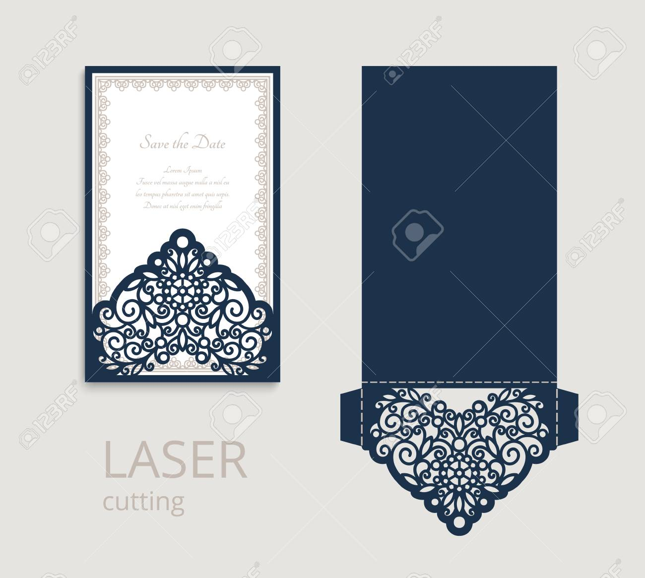 Cutout Folding Envelope For Wedding Invitation Card With Lace