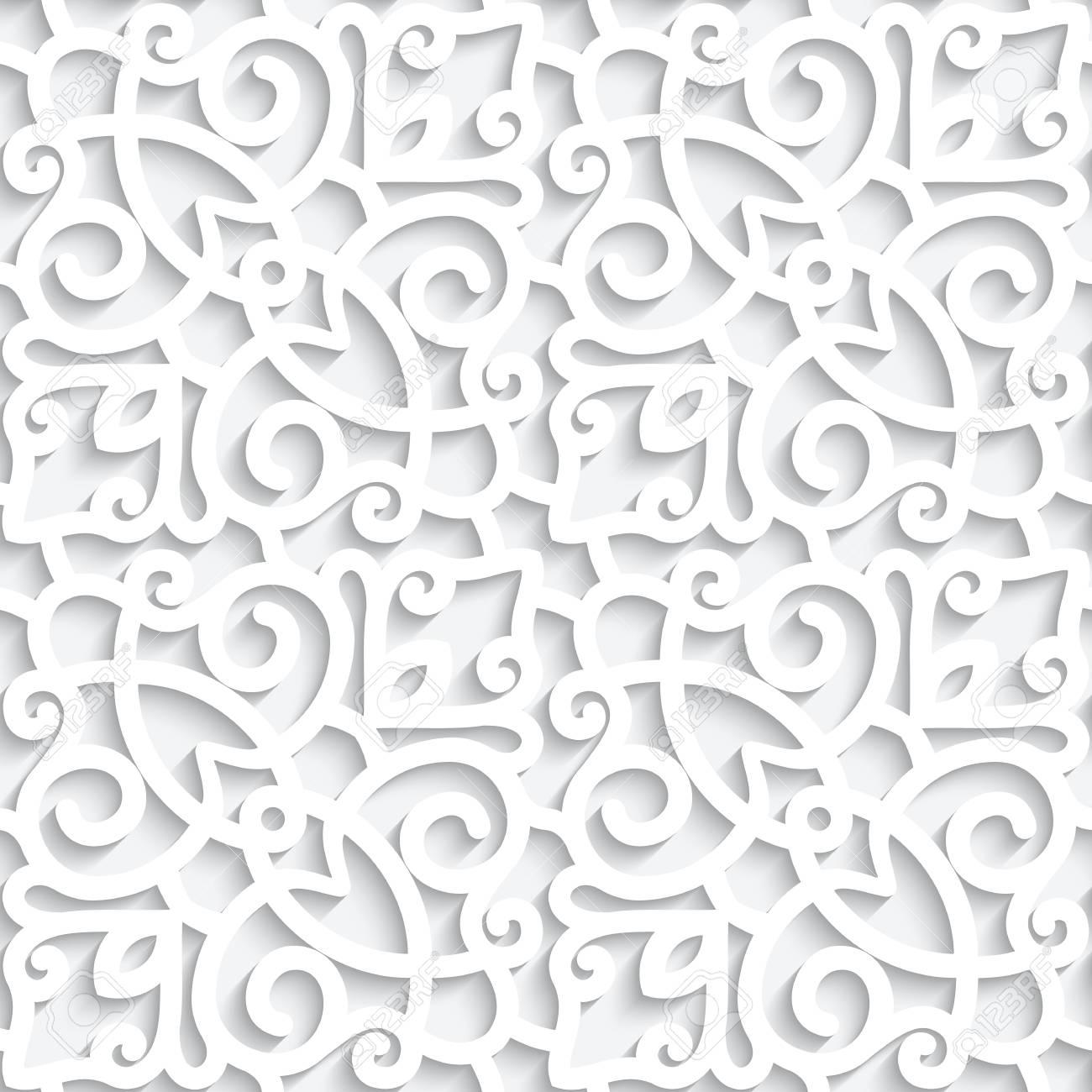 White lace texture, seamless pattern with cutout paper swirls - 121113649
