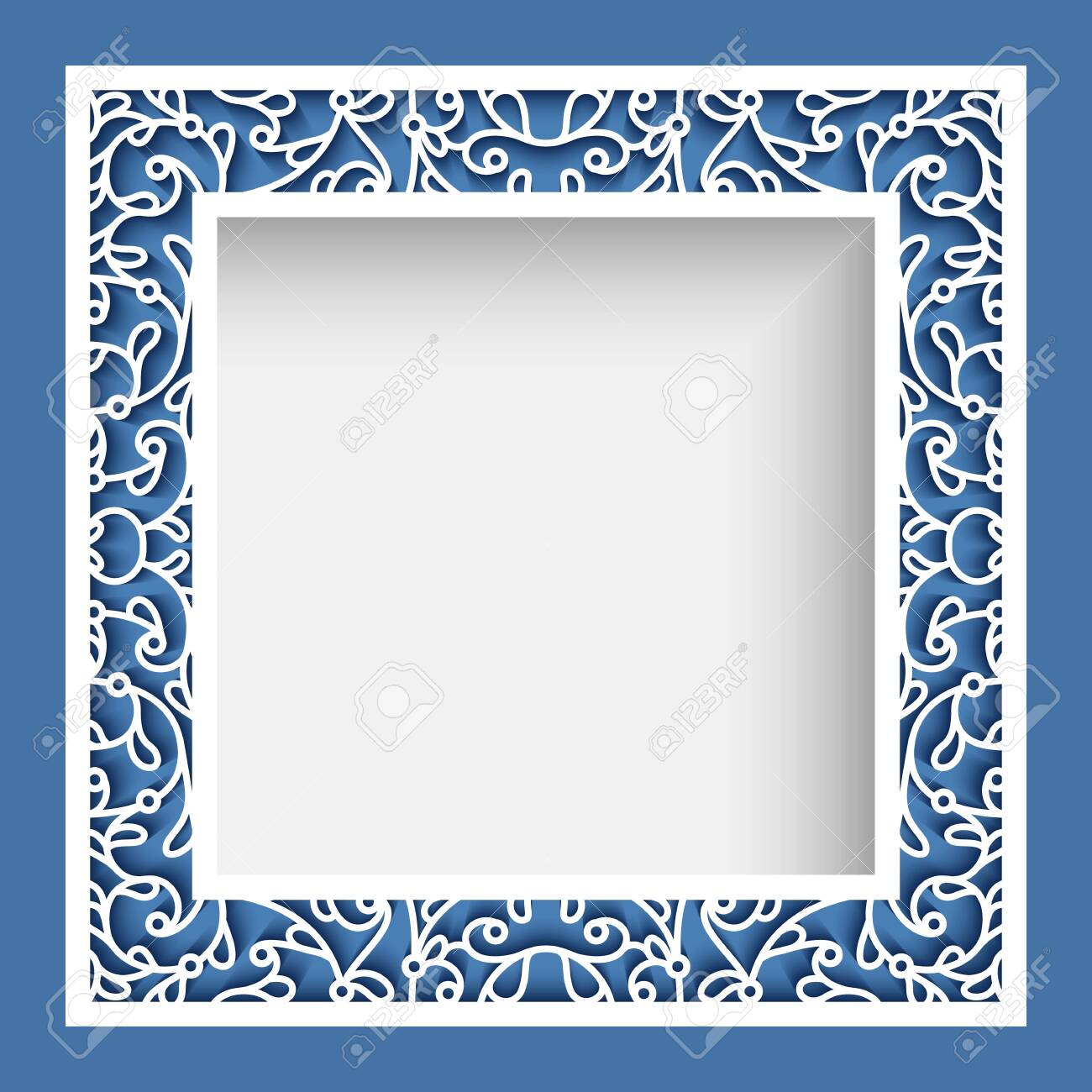 Square photo frame, elegant border ornament with cutout paper swirls, vector template for laser cutting, vintage lace decoration for greeting card or wedding invitation design - 134818682