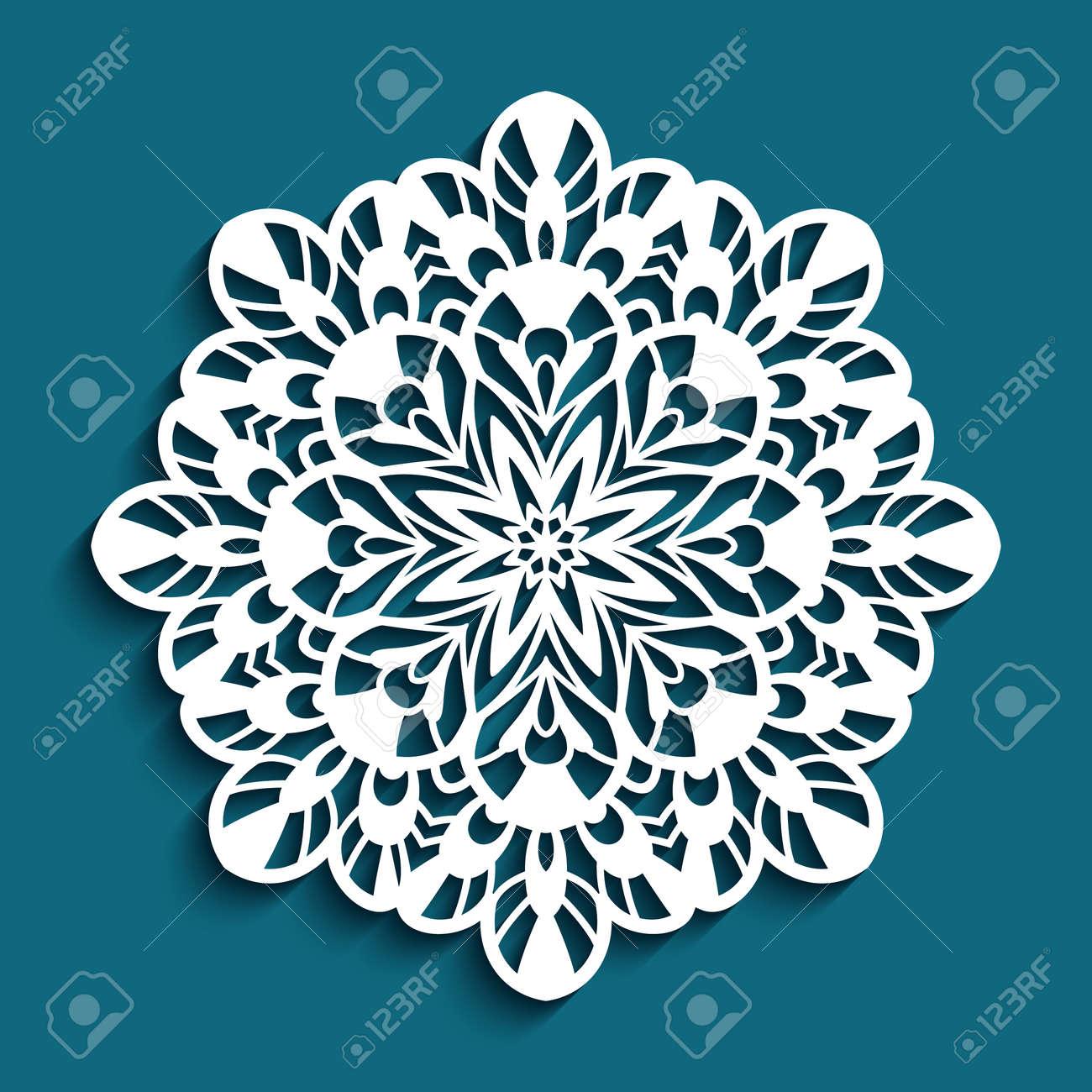 Round lace doily, Christmas ornament, cutout paper snowflake, crochet mandala circle pattern, swirly template for laser cutting - 155067123