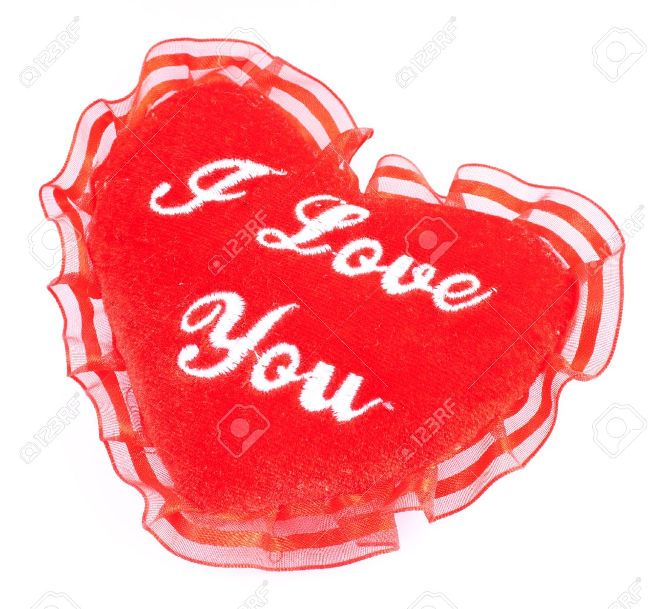 valentine heart soft pillow with i love you embroidering