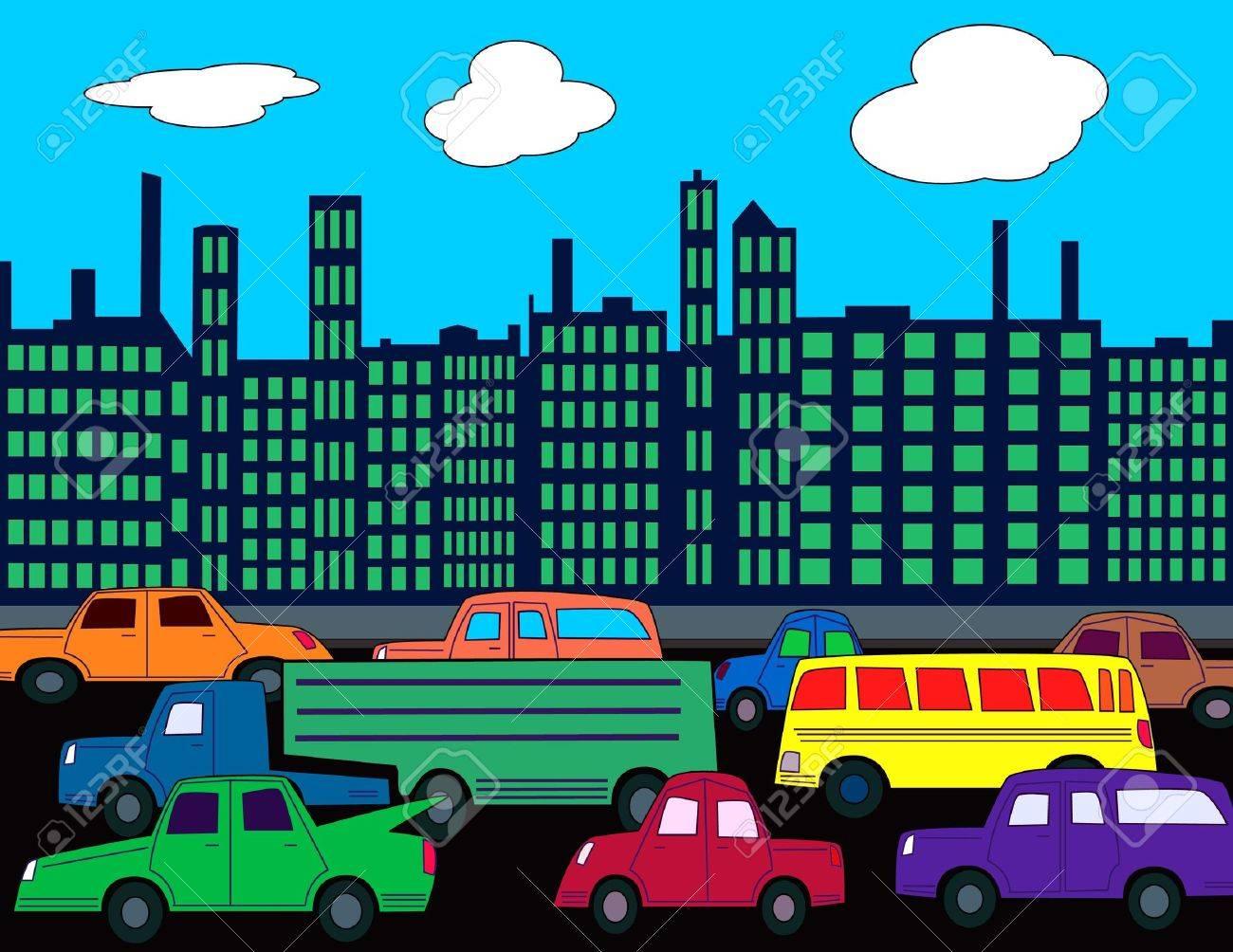 Eine Belebte Stadt Strasse Mit Autos Und Verkehr Lizenzfreie Fotos