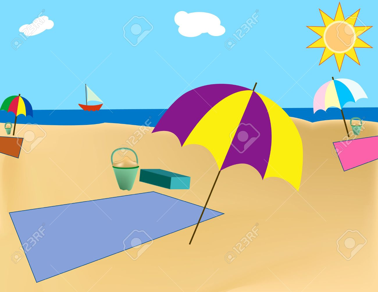 beach scene with blanket and umbrella stock photo picture and rh 123rf com summer beach scene clipart beach scene clipart black and white